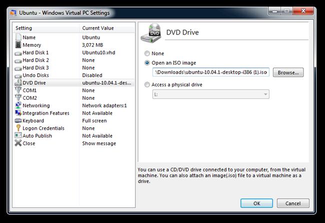 Ubuntu - Windows Virtual PC Settings (2)
