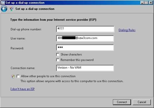 network type verizon