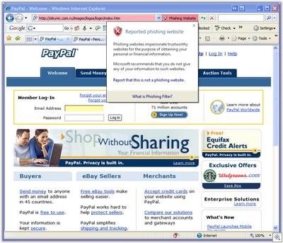 IE7 showing a suspicious website