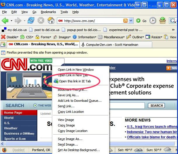 View Internet Explorer in a Firefox Tab - Scott Hanselman