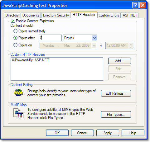 Forcing an update of a cached JavaScript file in IIS - Scott