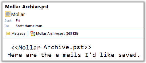 Picture of a message in Outlook with a PST file NOT being blocked